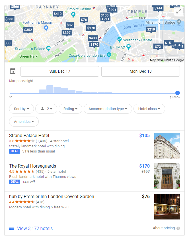 Local teaser pack screenshot for hotels in london query
