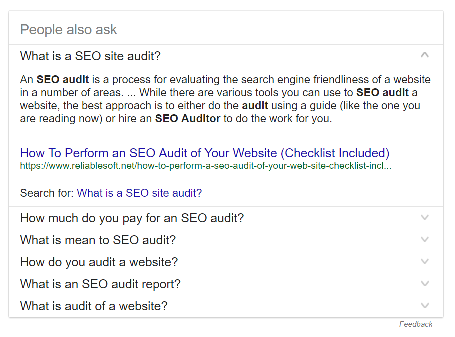 Screenshot of related questions block in SERP