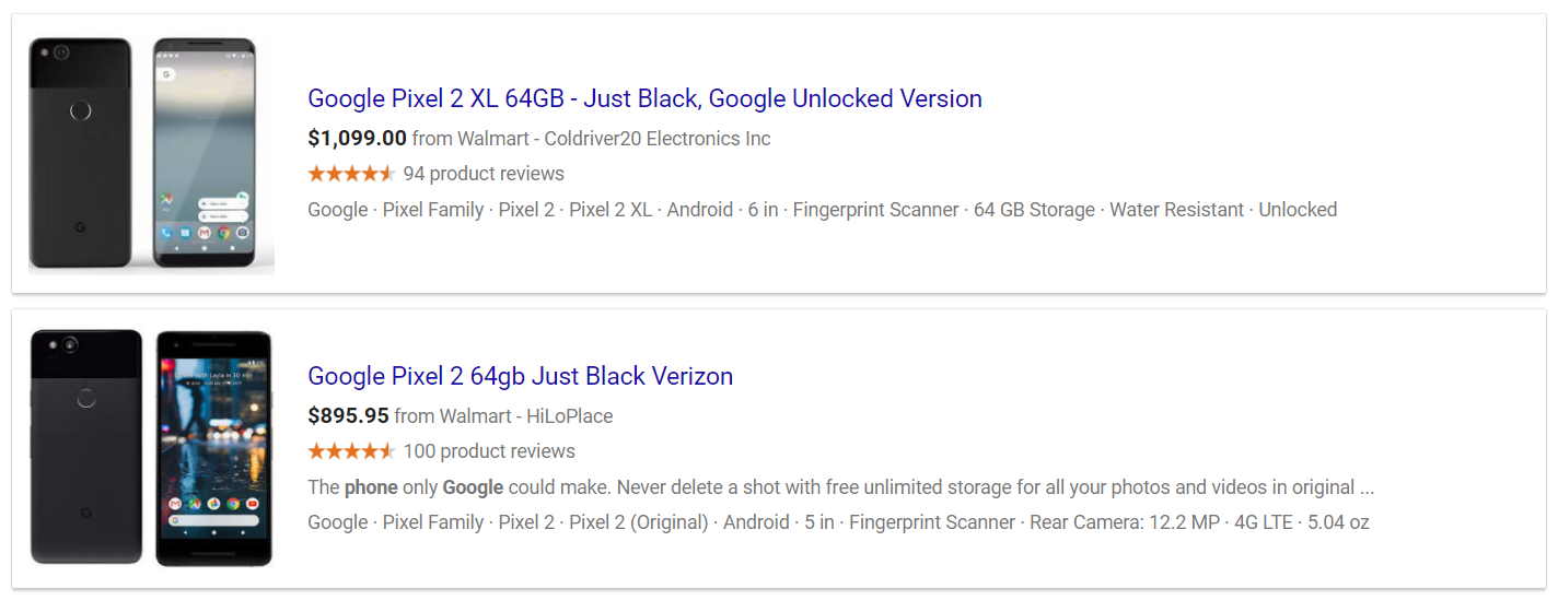 Shopping results block in Google SERP