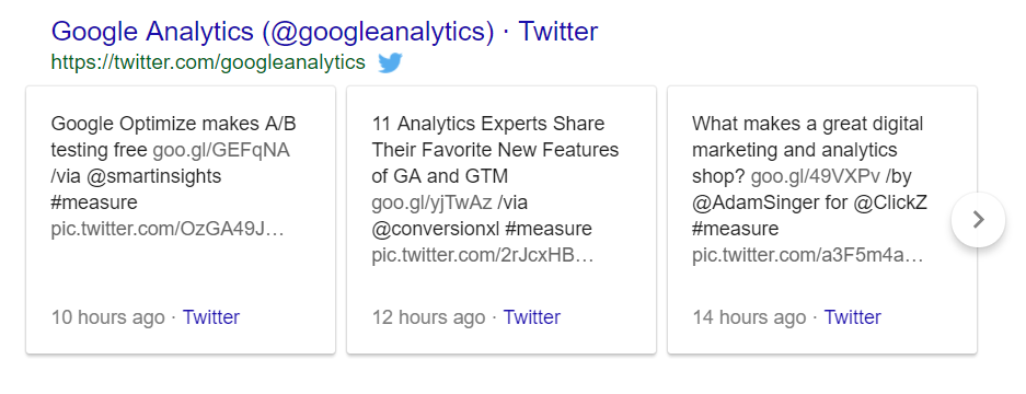 Tweets in Google search