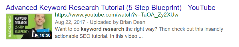 Video results in organic search