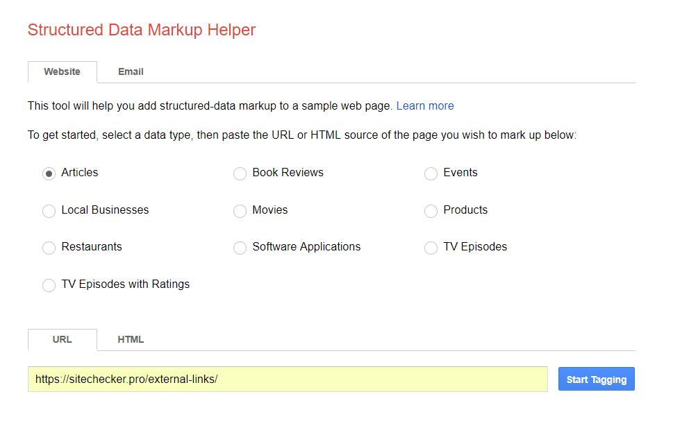 Schema markup tester