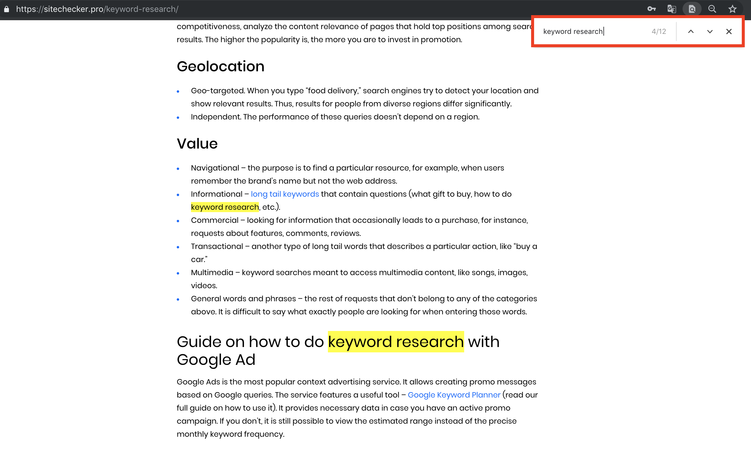 search for a keyword on a web page
