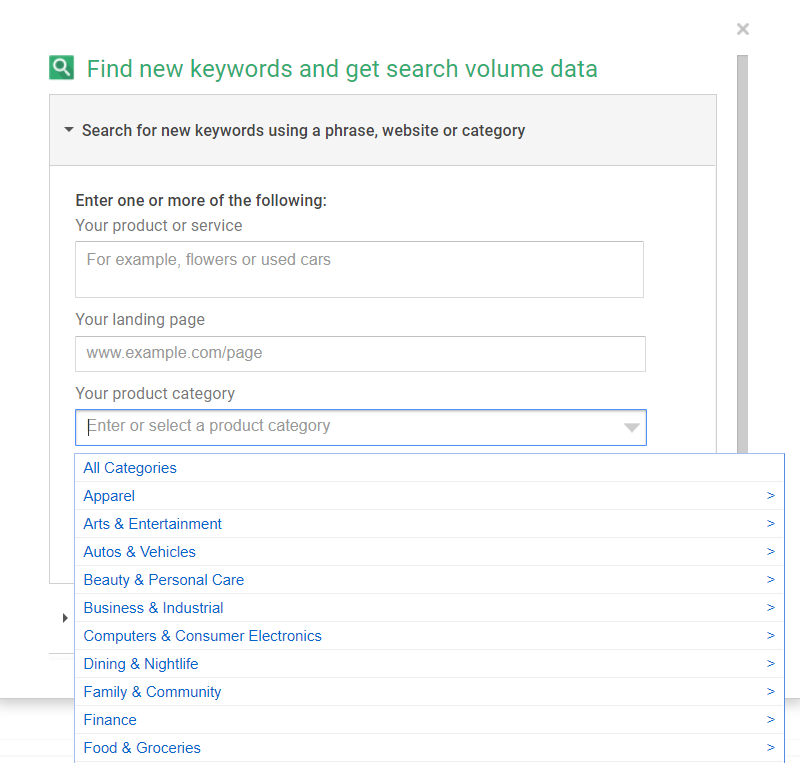 Google Keyword Selection Tool