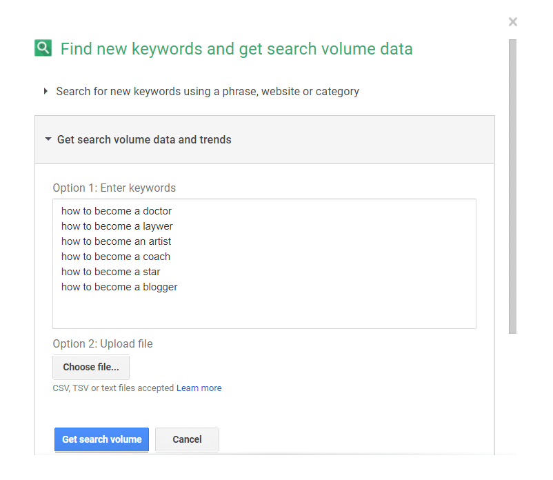 Google Adwords Planner Tool
