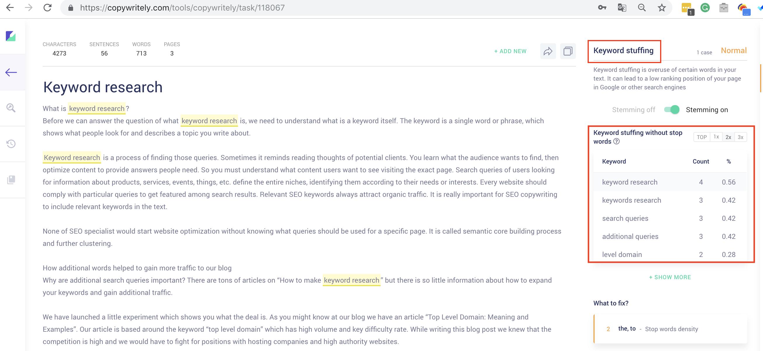 keyword stuffing copywritely