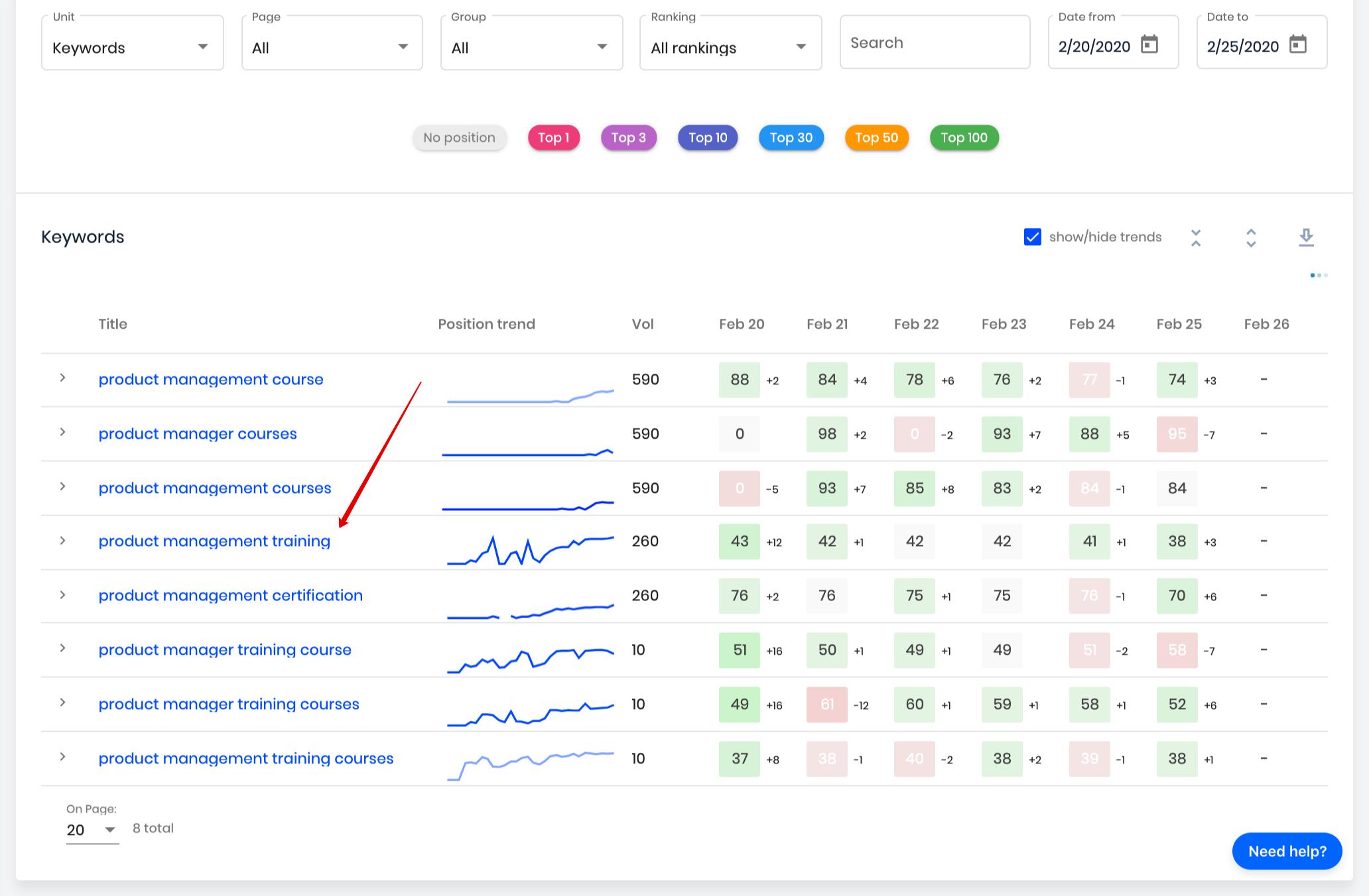 rank tracker options update
