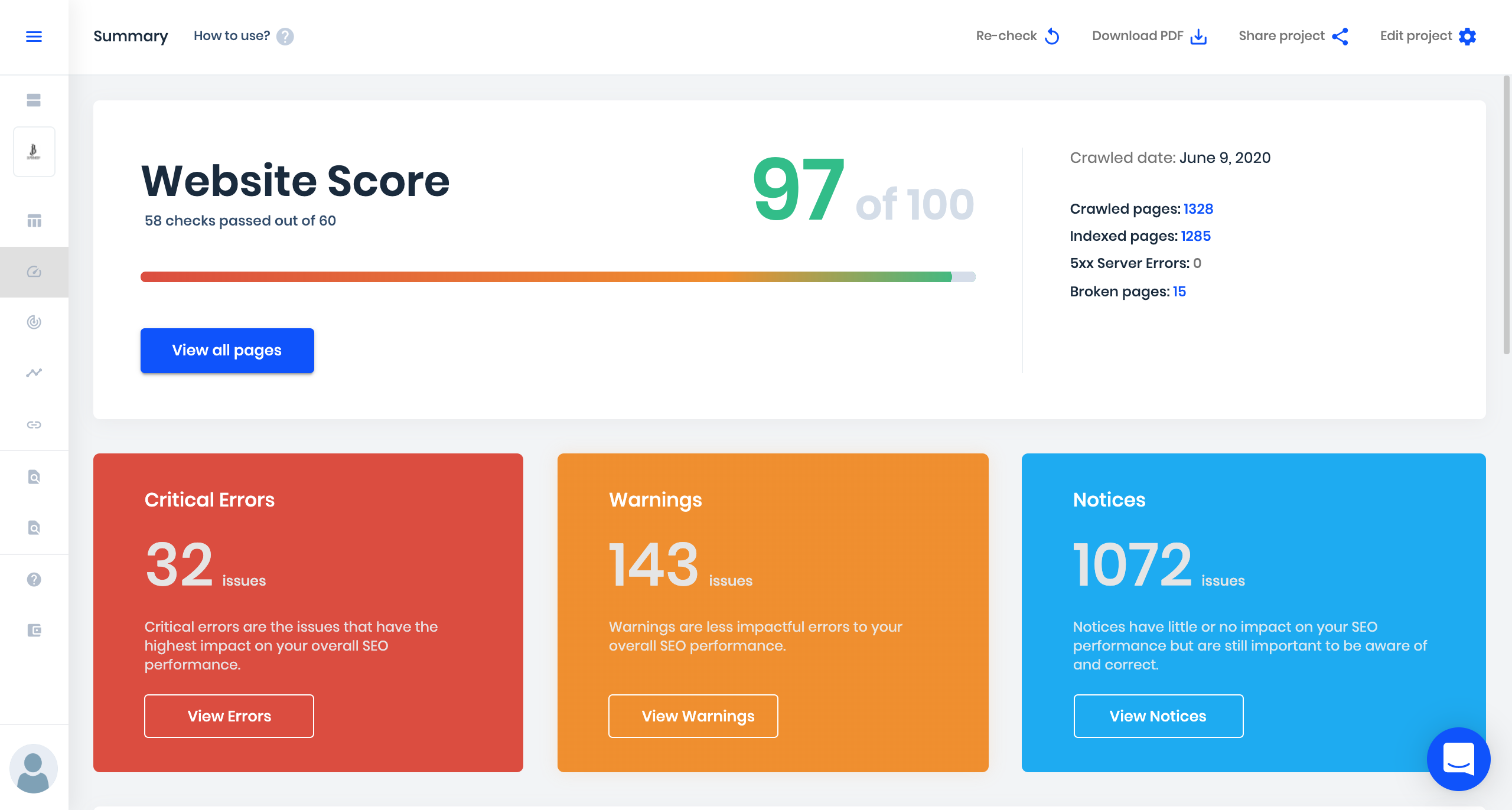 sitechecker product updates website score