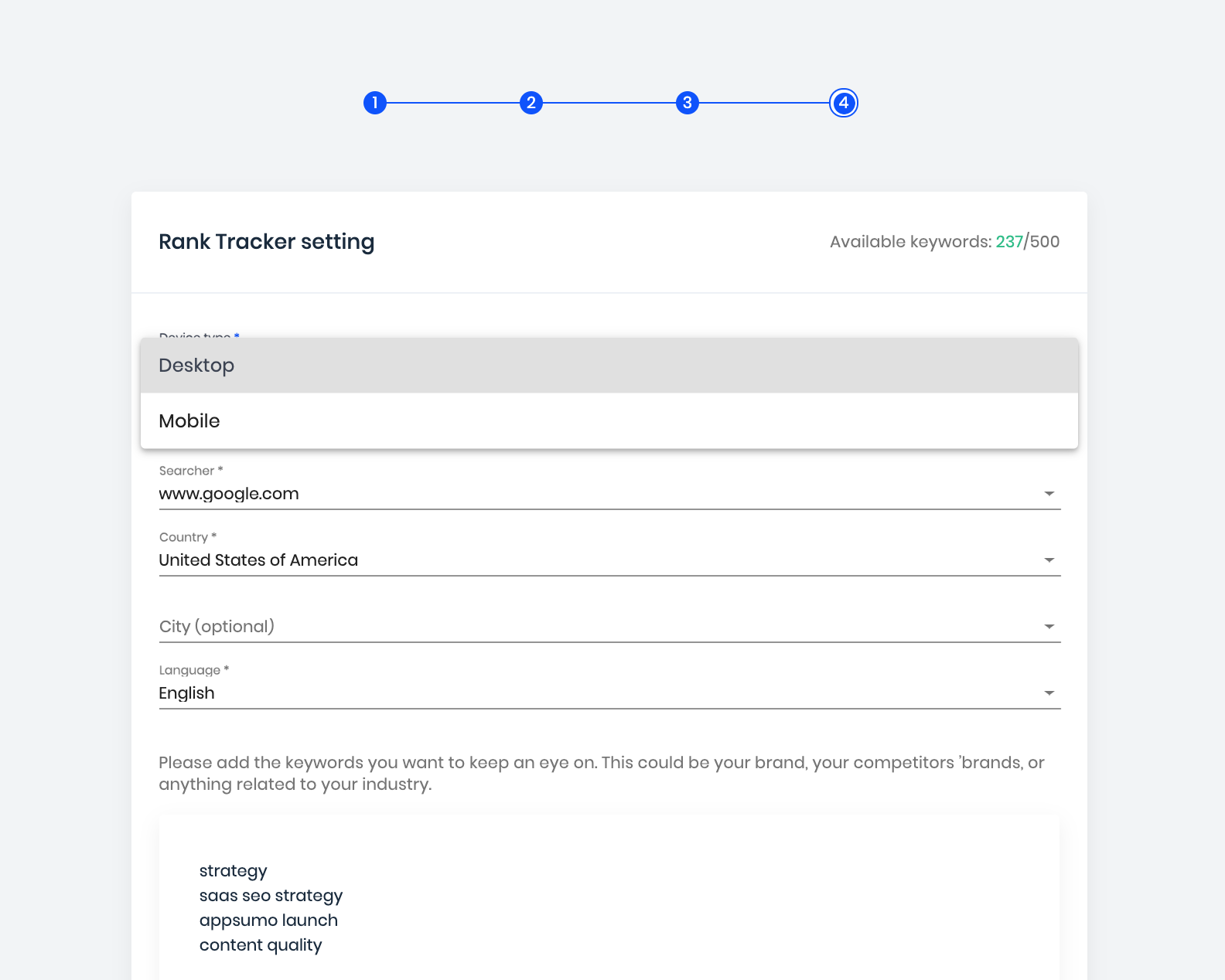 track keyword rankings on mobile devices