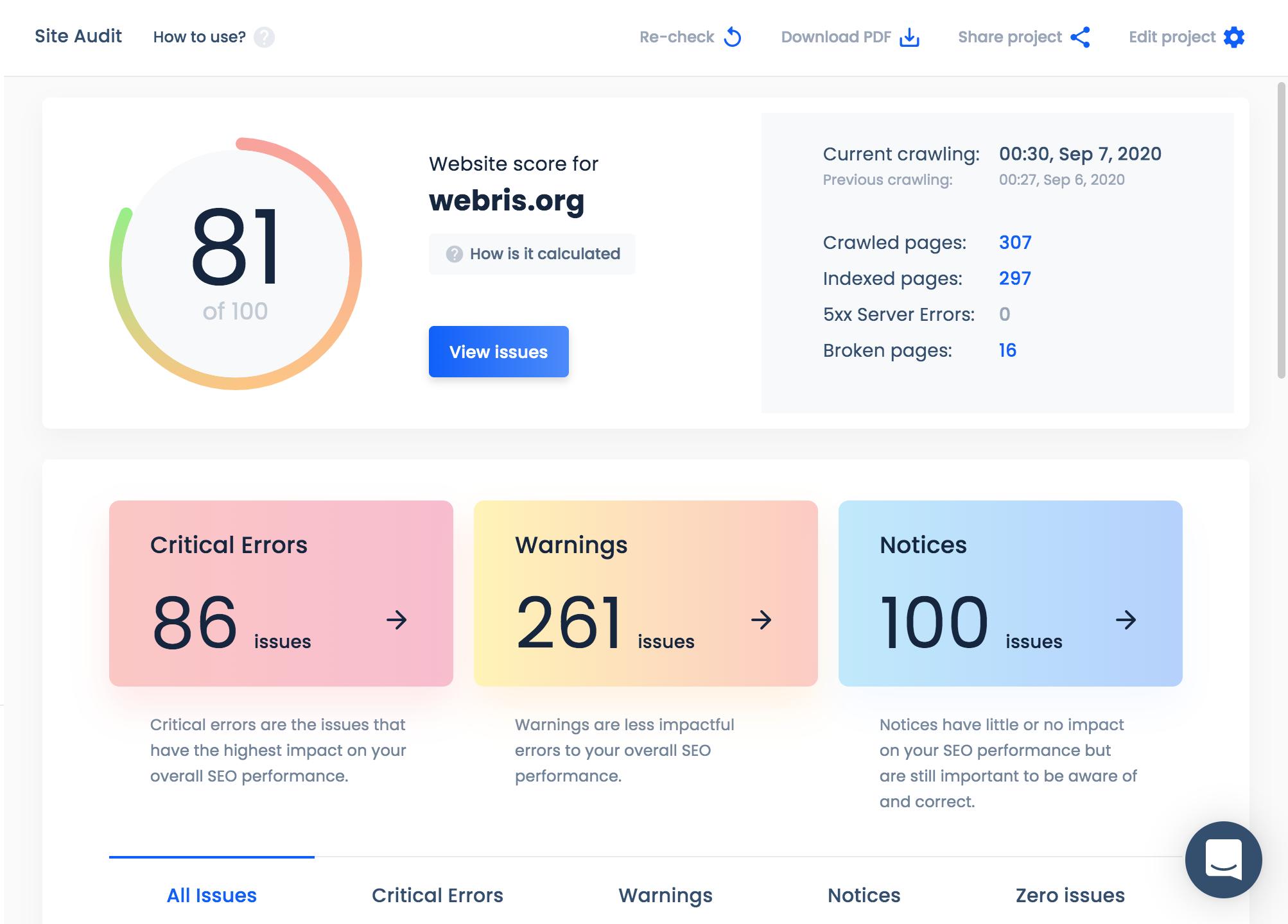 site audit design update