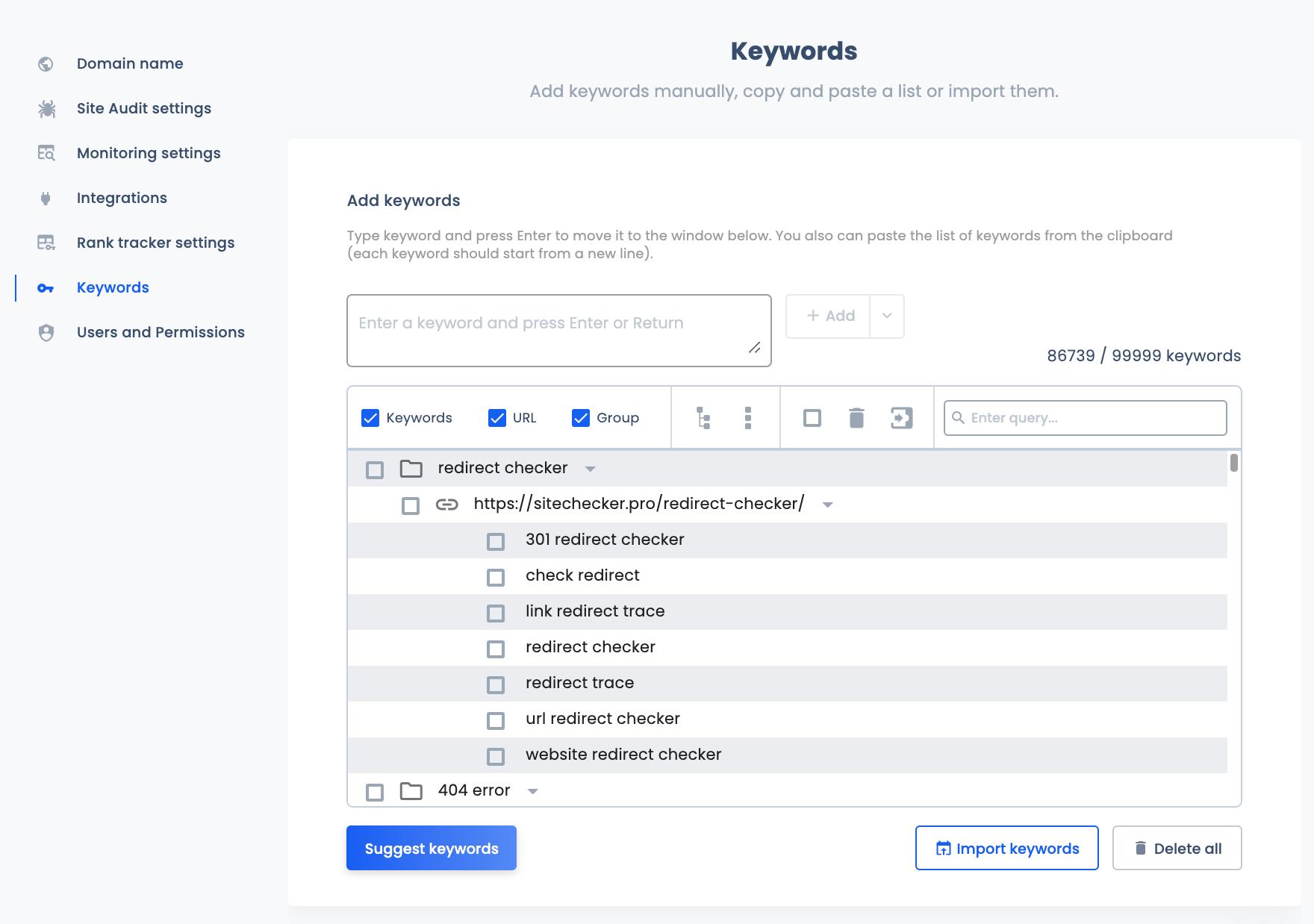 keyword settings update