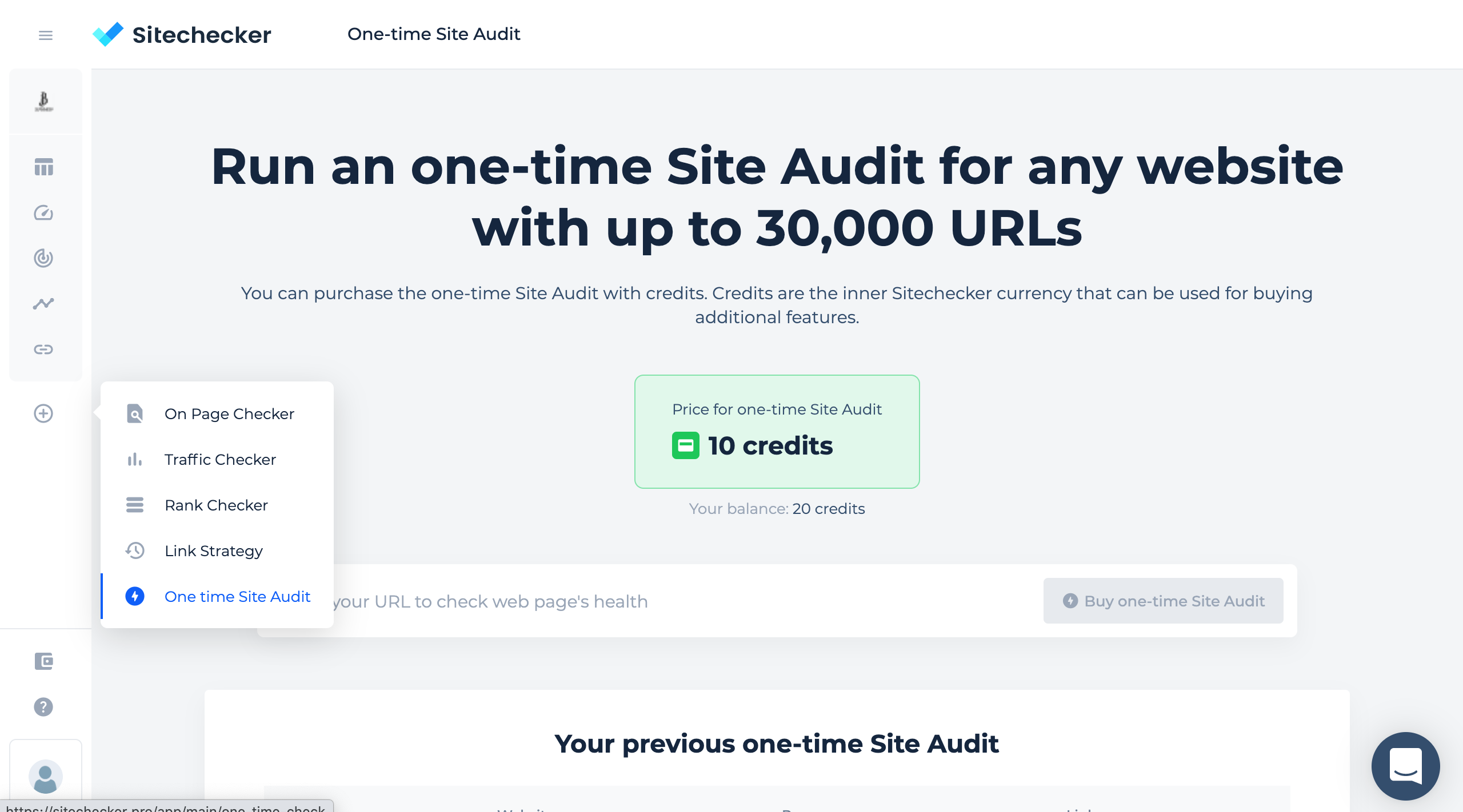 one-time site audit