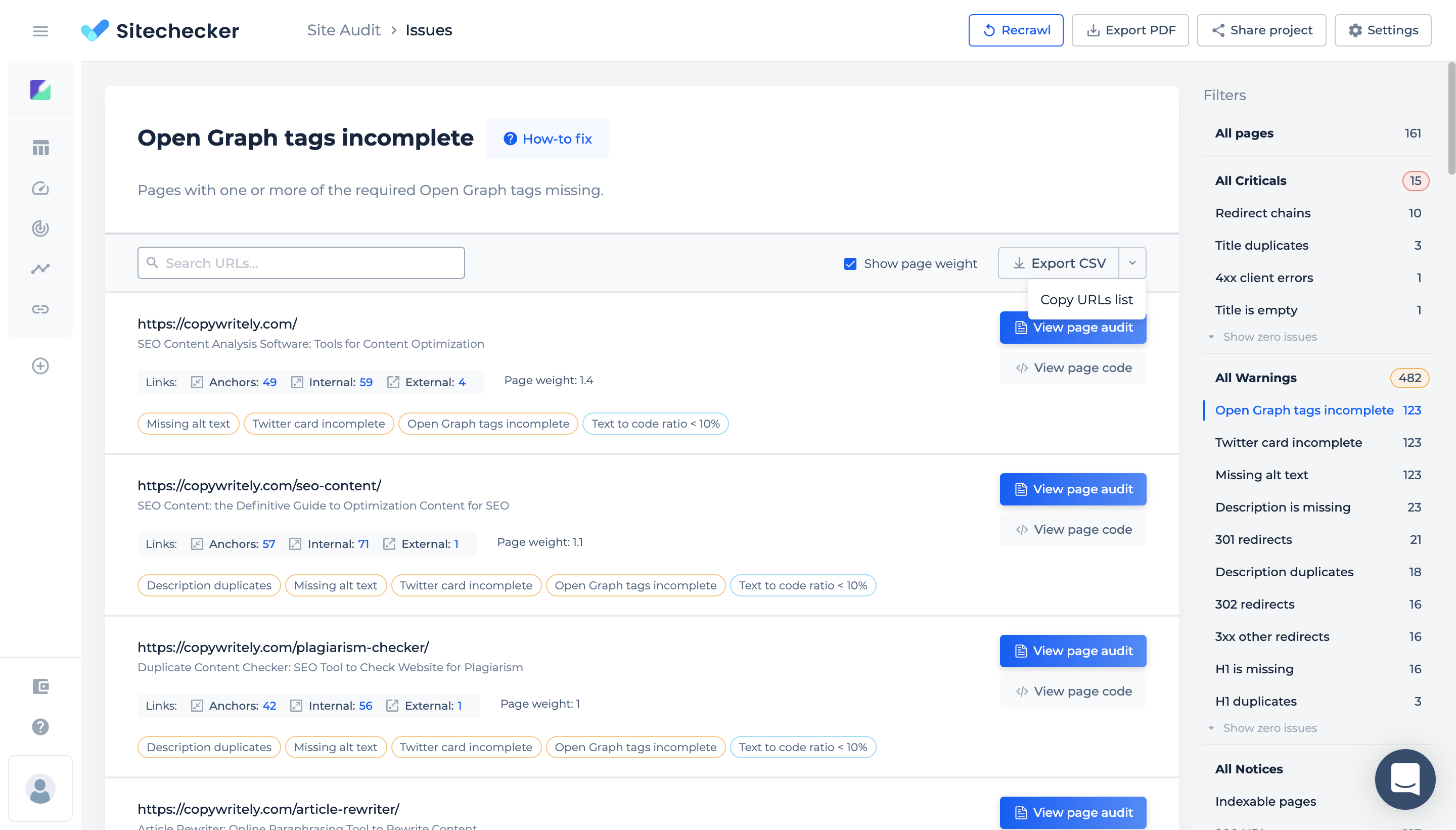 site audit issues page design update