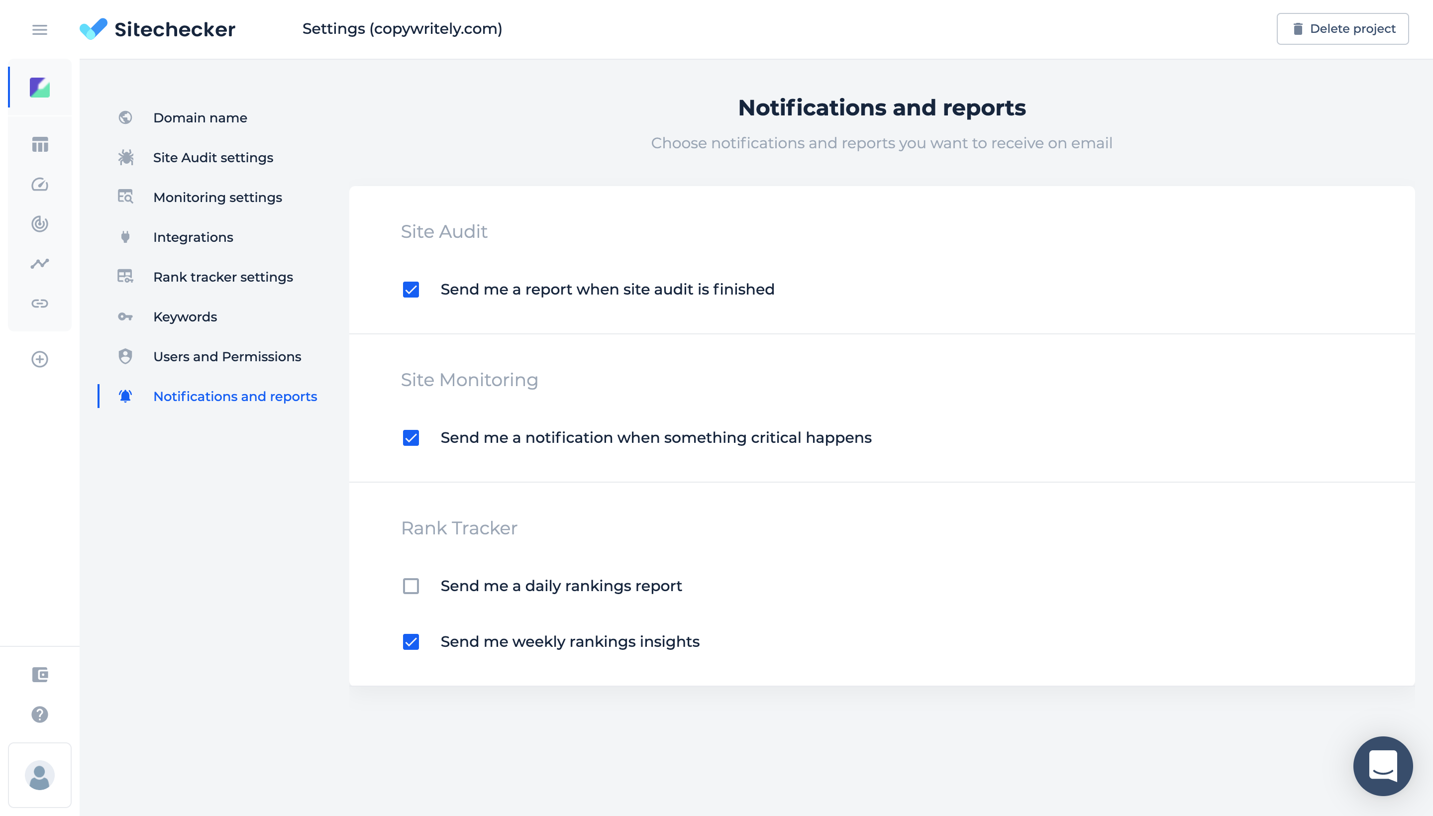 manage project notifications and reports