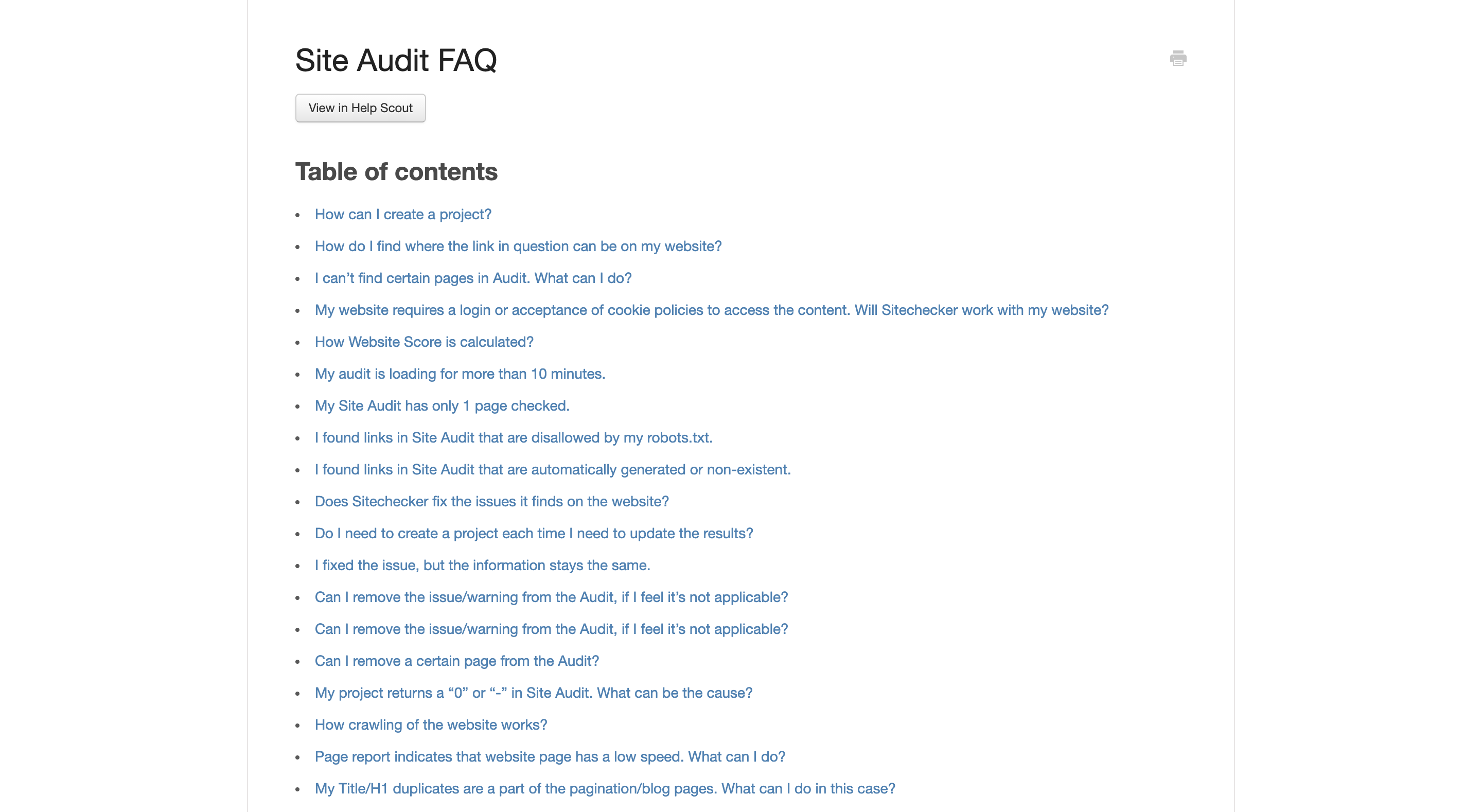 site audit frequently asked questions